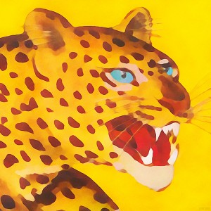 animal art leopard watercolor framed art print by Row One Brand