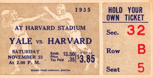 1935 Harvard vs. Yale Ticket Stub Art by Row One Brand