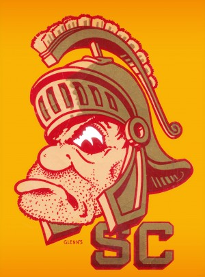 best vintage college mascots usc trojans art print by Row One Brand