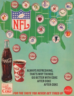 coke ad coca cola vintage advertisement nfl bottle cap poster historic ads by Row One Brand