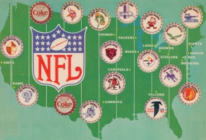 coke ad us map nfl poster vintage art by Row One Brand