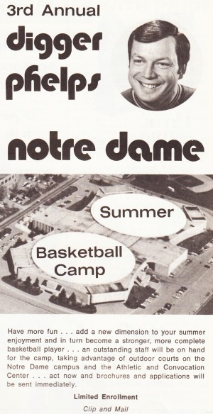 digger phelps notre dame basketball camp ad vintage basketball camp poster vintage sports ads retro by Row One Brand