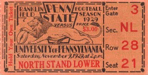 game room decor ideas 1929 pennsylvania penn state ticket canvas by Row One Brand