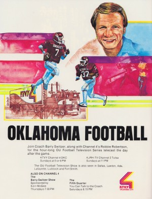 ktvy channel 4 oklahoma city television okc oklahoma football show barry switzer poster by Row One Brand
