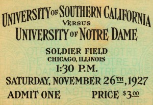 notre dame football ticket stub metal sign prints wood vintage sports art by Row One Brand