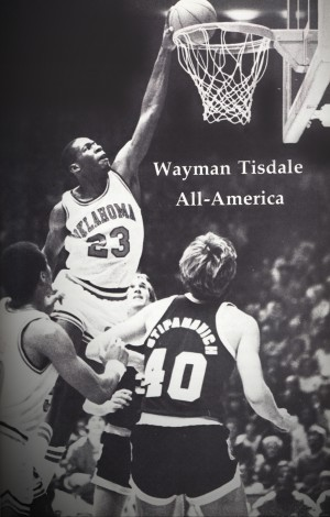 oklahoma sooners wayman tisdale all american basketball poster by Row One Brand