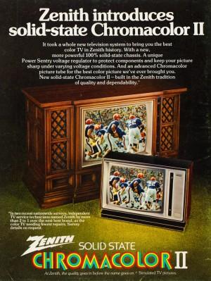 old television ads vintage zenith chromacolor II vintage florida gators helmet uniform retro ad art by Row One Brand