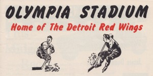 olympia stadium detroit red wings hockey poster art vintage sports artwork print by Row One Brand
