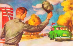 painting watercolor style vintage gas station old car artwork by Row One Brand