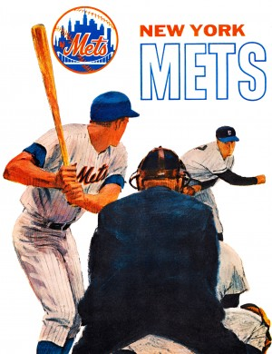 retro new york mets poster by Row One Brand