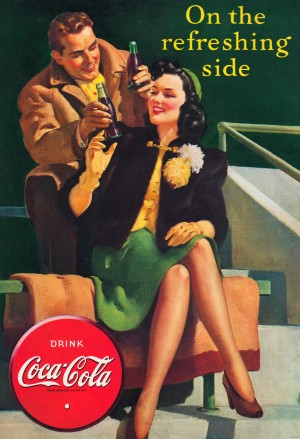 row one vintage coke ad reproduction metal sign poster print wood canvas coca cola vintage soda ad by Row One Brand