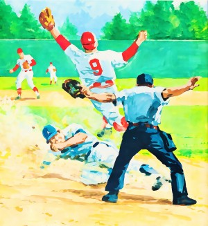 safe at home watercolor baseball art by Row One Brand