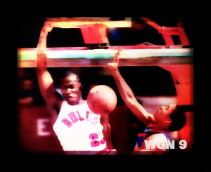 television art michael jordan dunk wgn channel 9 tv chicago by Row One Brand