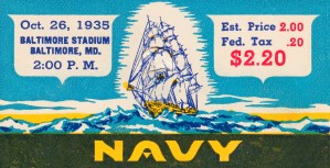 1935 Vintage Navy Football Ticket Art by Row One Brand