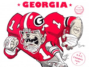 1981 University of Georgia Bulldogs Football Art by Row One Brand