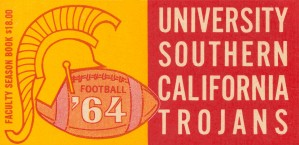 usc university of southern california trojans football art 1964 by Row One Brand