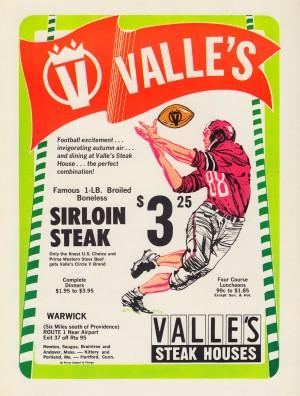 valles steak house restaurant ad vintage food advertisement boston maine hartford connecticut by Row One Brand