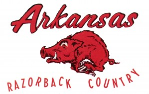vintage arkansas razorback country sign wood college signage by Row One Brand