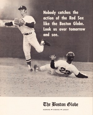 vintage boston globe ads catch the red sox poster by Row One Brand