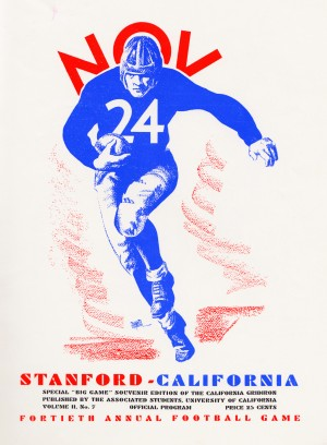 vintage cal stanford football poster college metal sign sports art by Row One Brand