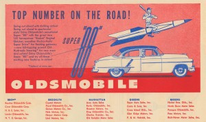 vintage car ads oldsmobile super 88 manhattan new york queens brooklyn automobile advertising by Row One Brand