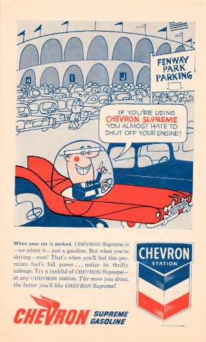vintage chevron gas ad fenway park poster by Row One Brand
