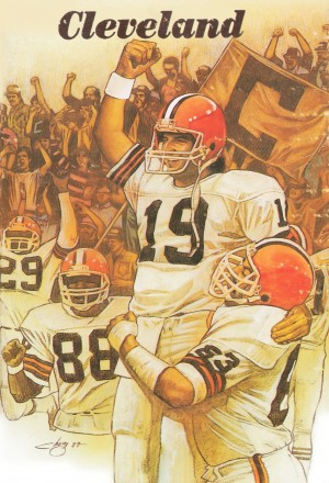 vintage cleveland browns nfl art poster by Row One Brand