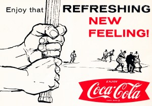 vintage coke ad baseball poster by Row One Brand