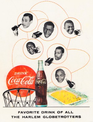 vintage coke advertisements harlem globetrotters by Row One Brand