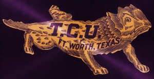 vintage college mascot art tcu horned frogs ft worth texas by Row One Brand
