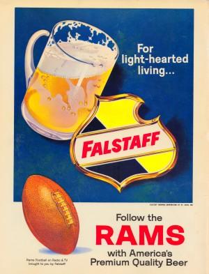 vintage falstaff beer ad poster la rams retro football metal sign by Row One Brand