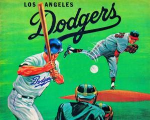 vintage la dodgers metal sign retro baseball sport poster wood prints sports art by Row One Brand