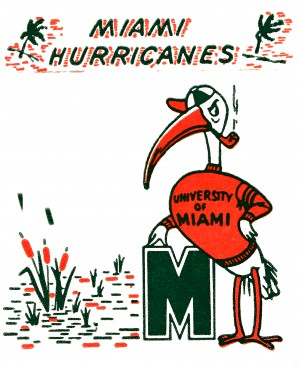 vintage miami hurricanes art university of miami florida poster by Row One Brand