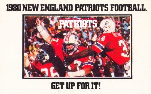 vintage new england patriots football poster by Row One Brand