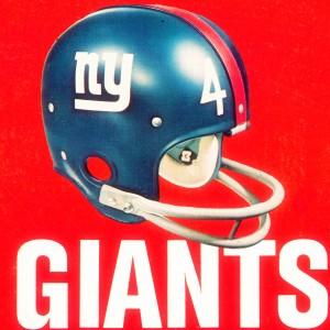vintage new york giants helmet art by Row One Brand