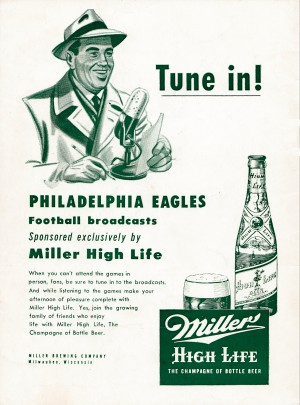vintage philadelphia eagles miller high life ad poster by Row One Brand