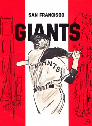 vintage san francisco giants white poster by Row One Brand