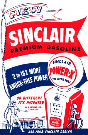 vintage sinclair gasoline ad by Row One Brand