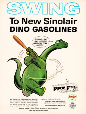 Vintage Sinclair Gasoline Dinosaur Ad by Row One Brand