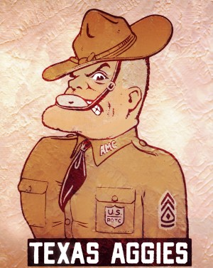 vintage texas aggies ol sarge mascot wood print by Row One Brand