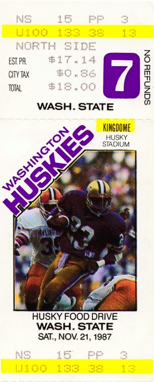 vintage university washington football ticket posters by Row One Brand