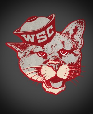 vintage washington state college cougar mascot art by Row One Brand