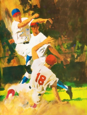 vintage watercolor style baseball art poster print sports artwork row one collection by Row One Brand