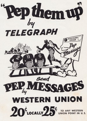 western union telegraph vintage football ad pep message poster metal sign by Row One Brand