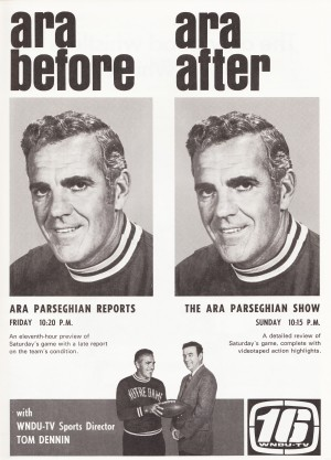 wndu tv south bend indiana notre dame ara parseghian show football ad poster retro television sports by Row One Brand