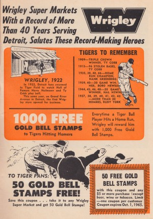 wrigley super market ad detroit tigers to remember ty cobb gold bell stamps advertising by Row One Brand