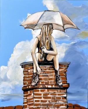 Girl with Umbrella by Roy Brash