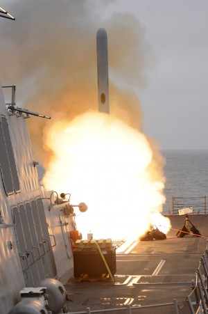 A tomahawk missile launch aboard USS Sterett. by StocktrekImages