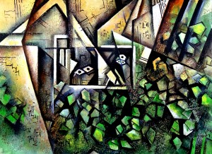 Cubist Painting House in Forest -  Geometric Abstract by Sumit Datta