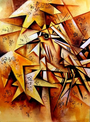 Cubist Painting The Bird -  Geometric Abstract by Sumit Datta